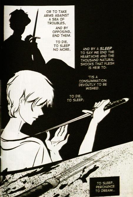 """To Be or Not to Be Soliloquy – Manga Edition."" Adam Sexton and Tintin Pantoja, Shakespeare's Hamlet: The Manga Edition (Hoboken: Wiley, 2008). 77-78. Print."