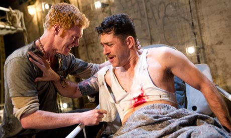 "Matthew Trevannion and Carsten Hayes in the production of ""Bound East For Cardiff"" that took place at the Old Vic Tunnels, London. Photograph: Tristram Kenton for the Guardian (2012)"
