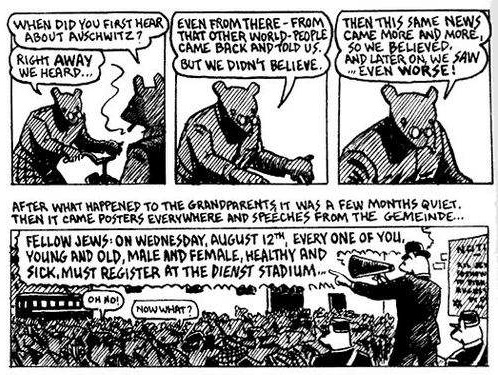 The following set of panels are depicted on page 90 of The Complete Maus. These panels highlight how events from the past and the present are combined within the same pages--which sometimes makes it difficult to keep track of the narrative strand that is taking place. At times, Vladek's retelling of his story is interrupted by his son, who often demands his father to tell a more coherent and chronological tale.